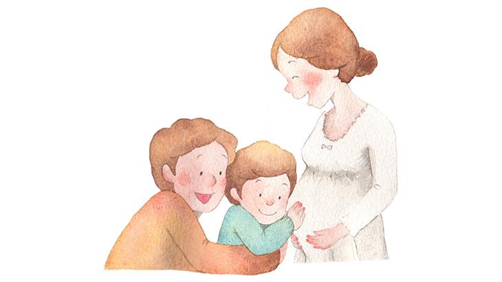 妊婦と家族